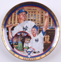 """Mickey Mantle LE Yankees """"Saluting a Magnificent Yankee"""" 1995 Bradford Exchange Porcelain Plate"""