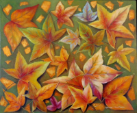 "Adriana Constanza Signed ""Autumn"" 23x28 Original Oil Painting on Canvas (PA LOA)"