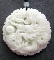 250 CTs Jade Fortune Dragon Pearl Amulet Necklace