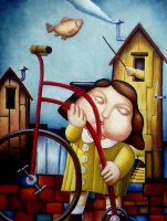 "R S Pinon Signed ""The Bike Girl"" 19x23 Original Oil Painting on Canvas (PA LOA) at PristineAuction.com"