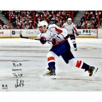 "Alex Ovechkin Signed Washington Capitals 16X20 Limited Edition Photo Inscribed ""B2B HAT TRICKS"" & ""7G IN 2GP"" (Fanatics Hologram)"