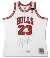 "Michael Jordan Signed 1991-92 Mitchell & Ness Chicago Bulls Jersey Inscribed ""In Memory of Sheri Berto"" (UDA COA)"