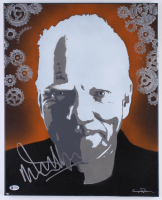 Malcolm McDowell Signed A Clockwork Orange 16x20 Custom Mounted Original Painting Canvas (Beckett COA)