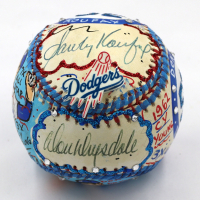 Sandy Koufax & Don Drysdale Signed Brooklyn Dodgers Baseball Hand-Painted by Charles Fazzino (PSA LOA)