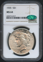1935 $1 Peace Silver Dollar (NGC MS 64) (CAC)