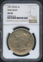 1921 $1 Peace Silver Dollar - High Relief (NGC AU 58)