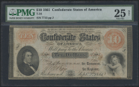 1861 $10 Ten Dollars Confederate States of America Richmond CSA Bank Note (T-24) (PMG 25)