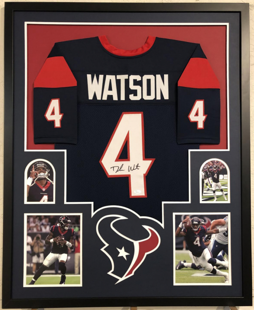 edb11444e99 Deshaun Watson Signed Houston Texans 35x43 Custom Framed Jersey (JSA COA)