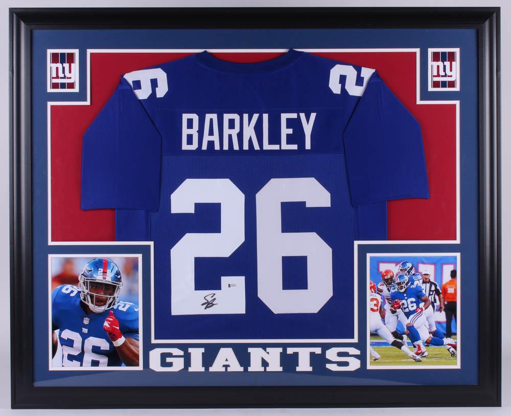 f50573f2c Saquon Barkley Signed New York Giants 35x43 Custom Framed Jersey (Beckett  COA)