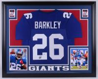 Saquon Barkley Signed New York Giants 35x43 Custom Framed Jersey (Beckett COA)
