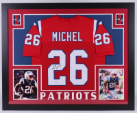 Sony Michel Signed New England Patriots 35x43 Custom Framed Jersey (Beckett COA)