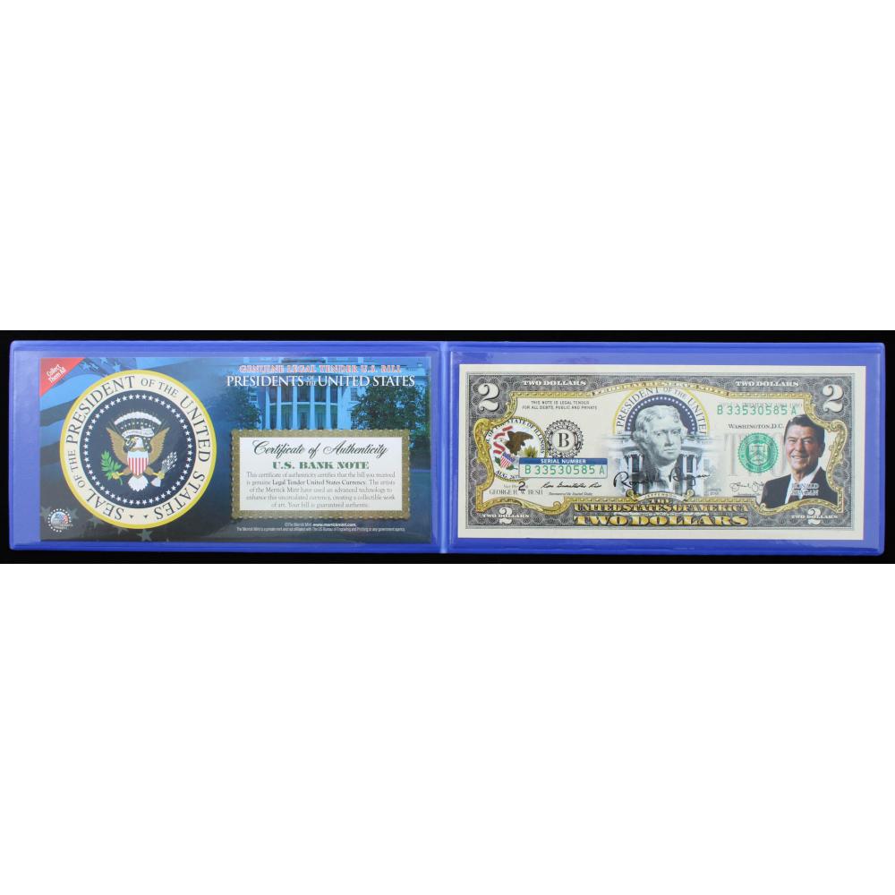 RONALD REGAN COLORIZED Two Dollar Bill