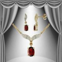 Garnet & Diamond Earring & Necklace Set