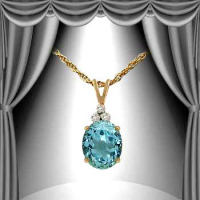 4.08 CT Blue Topaz & Diamond Elegant Necklace