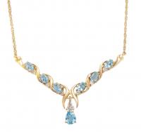 6.84 CT Swiss Blue Topaz & Diamond Elegant Necklace