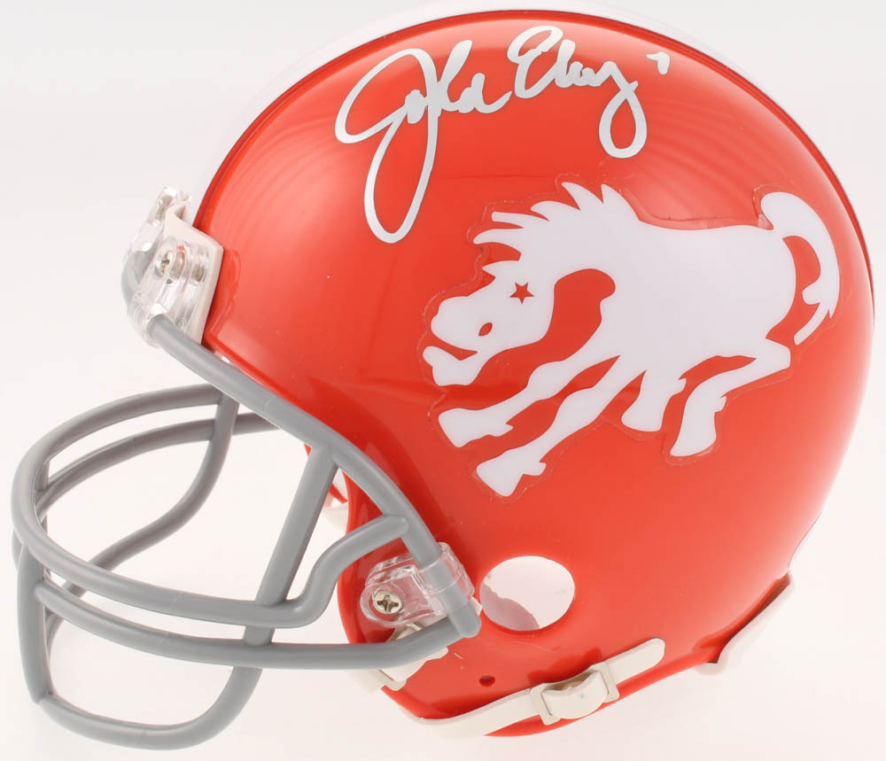ea8d24d46c4 John Elway Signed Denver Broncos Throwback Mini Helmet (Beckett COA)