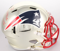 Rob Gronkowski Signed New England Patriots Full-Size Chrome Speed Helmet (Beckett COA)