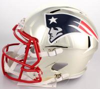 Rob Gronkowski Signed New England Patriots Full-Size Chrome Speed Helmet (Beckett COA) at PristineAuction.com