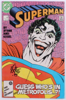 "Bob Kane Signed 1987 ""Superman"" Vol. 2 Issue #9 DC Comic Book Inscribed ""'93"" (Beckett COA)"