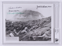 Battle of Iwo Jima 8x10 Signed by (4) With Hershel W. Williams, Charles W. Lindberg, George Wahlen & Jack Lucas with Inscription (BGS Encapsulated)