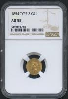 1854 $1 Indian Princess Gold Coin - Type 2 (NGC AU 55)