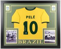 Pele Signed Brazil 35x43 Custom Framed Jersey (PSA COA)