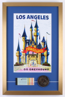 "Disneyland ""Go Greyhound"" 17x26 Custom Framed Print Display with Vintage Ticket & Medallion"
