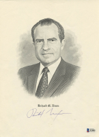 Richard Nixon Signed 9x12 White House Engraving (Beckett LOA)