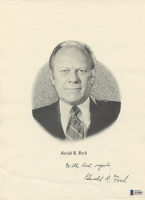 "Gerald Ford Signed 9x12 White House Engraving Inscribed ""With Best Regards"" (Beckett LOA) at PristineAuction.com"