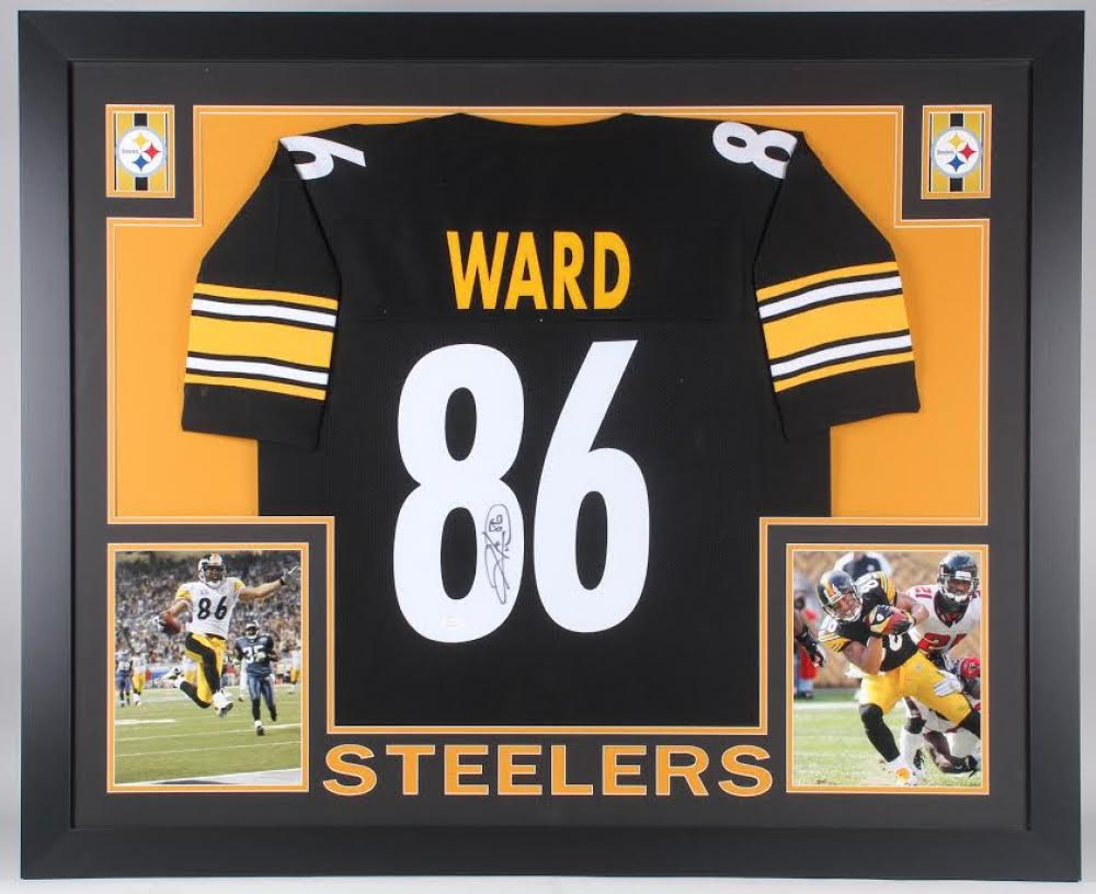 e4228495e Hines Ward Autographed Pittsburgh Steelers Custom Black Football Jersey JSA  COA Jerseys Football-NFL