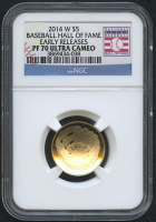 2014-W Baseball Hall of Fame $5 Gold Proof Coin - Early Releases (NGC PF 70 Ultra Cameo)