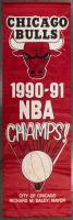 1990-91 Chicago Bulls 31x97 NBA Champs Stadium Banner Signed by (6) with Michael Jordan, Scottie Pippen, Horace Grant, Bill Cartwright (Beckett LOA)