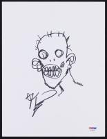 """Robert Kirkman Signed """"The Walking Dead"""" 8.5x11 Zombie Sketch on Board (PSA COA)"""