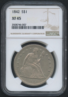 1842 $1 Seated Liberty Silver Dollar (NGC XF 45)