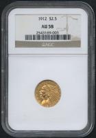 1912 $2.50 Indian Quarter Eagle Gold Coin (NGC AU 58)