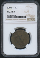 1798/7 Draped Bust Large Cent - Sheldon 152 - Wide Overdate (NGC AG 3 BN)