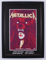 Metallica 24.25x32.25 Custom Framed Poster Display Band-Signed by (4) with James Hetfield, Lars Ulrich, Kirk Hammett & Robert Trujillo (PSA LOA) at PristineAuction.com