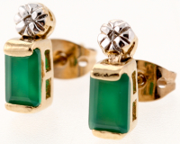 2.82 CT Green Agate & Diamond Elegant Earrings
