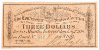 1864 $3 Three Dollar Confederate States of America Richmond CSA Bank Note Bond