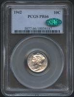 1942 10¢ Mercury Silver Dime (PCGS PR 66) (CAC)