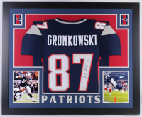 Rob Gronkowski Signed New England Patriots 35x43 Custom Framed Jersey (PSA COA)