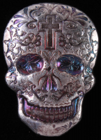 2 oz Silver Day of the Dead Sugar Skull Monarch Hand-Poured 3D .999 Fine Silver Bar - Cross