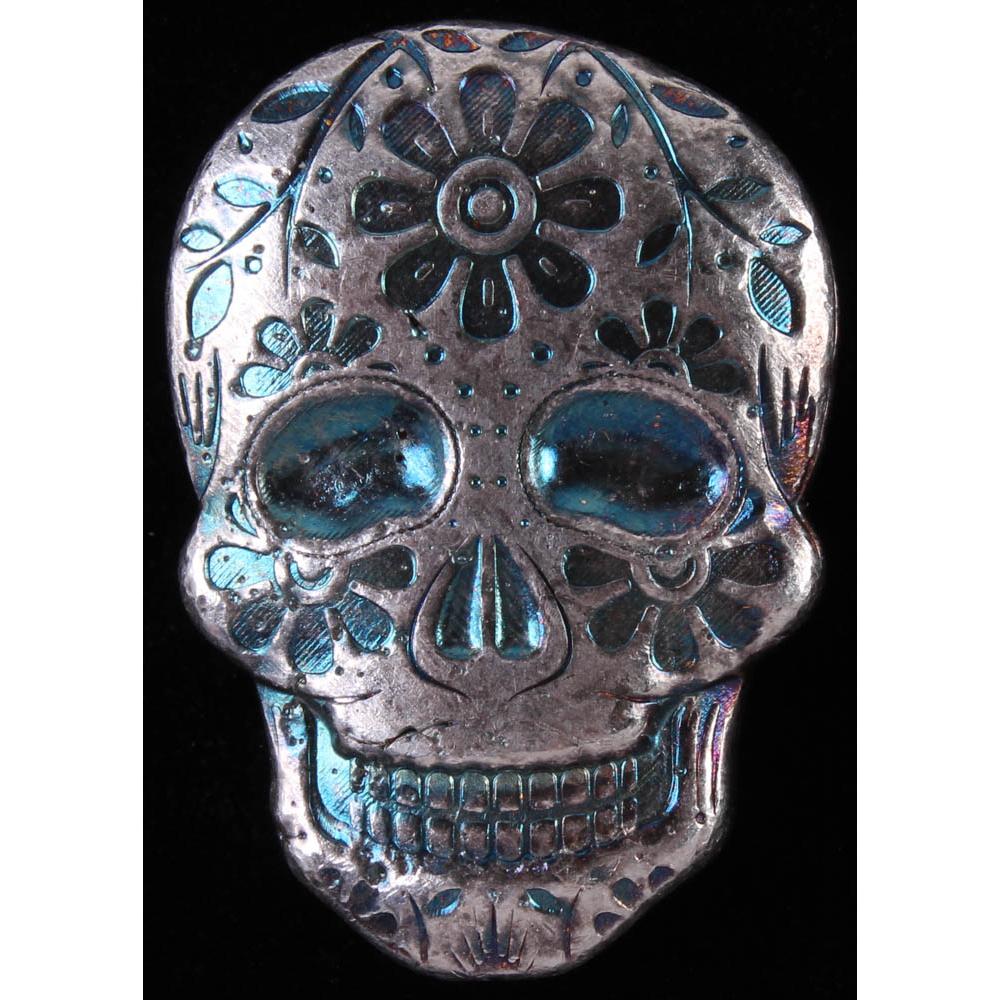999 Fine Silver Sugar Skull 3-D Day of the Dead Marigold New 2 oz