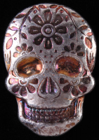 2 oz Silver Day of the Dead Sugar Skull Monarch Hand-Poured 3D .999 Fine Silver Bar - Marigold