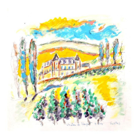"Wayne Ensrud Signed ""Chateau Clos de Vougeot, Burgundy"" 10x10 Mixed Media Original Artwork at PristineAuction.com"