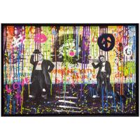 "Nastya Rovenskaya Signed ""Chaplin and Hardy"" 36x24 Custom Framed Original Mixed Media on Canvas at PristineAuction.com"