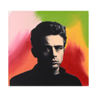 "Steve Kaufman Signed ""James Dean"" Hand Embellished Limited Edition 20x20 Silkscreen on Canvas #40/50 at PristineAuction.com"