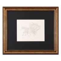 """Guillaume Azoulay Signed """"Pen and Ink AB"""" 28x24 Custom Framed Original Drawing at PristineAuction.com"""