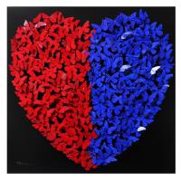 """Patricia Govezensky Signed """"Heart"""" 31x31 Original 3D Metal Art at PristineAuction.com"""