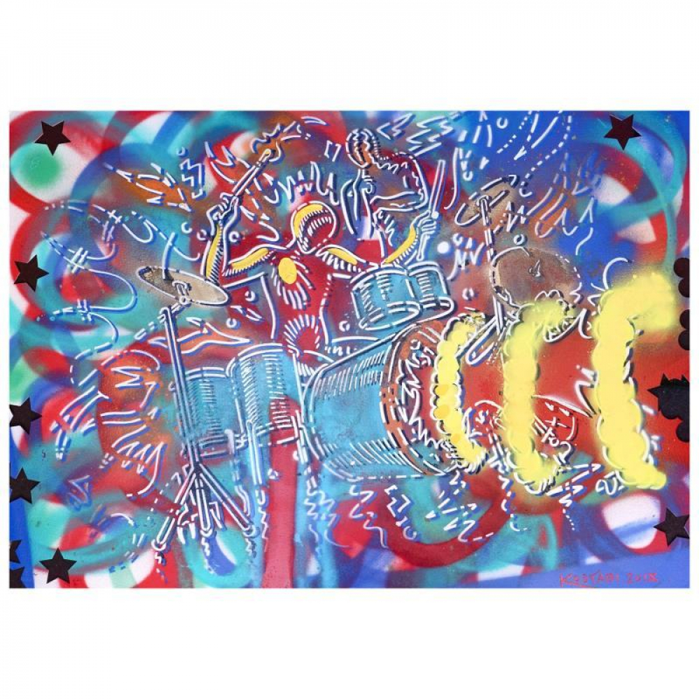 """Mark Kostabi Signed """"Time Bomb"""" 29x42 Mixed Media Original Painting at PristineAuction.com"""